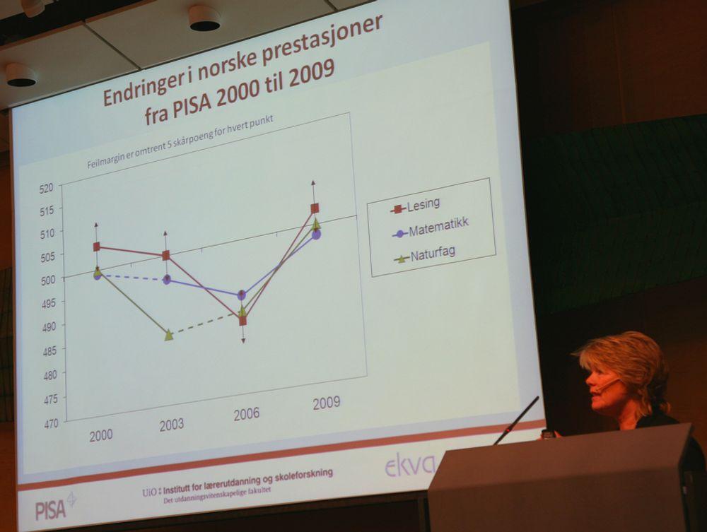 PILER: Forsker Marit Kjærnsli legger fram resultatene av PISA-undersøkelsen. Se nivået i 2000 sammenliknet med 2009.