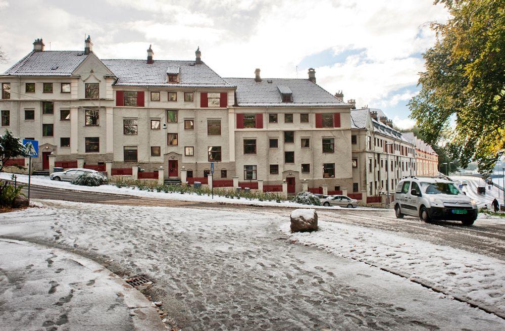 FÅR ERSTATNING: Borettslaget i denne bygården får millionerstatning fra kommunen etter alvorlige setningsskader. Flere beboere får også tilleggserstatninger siden de måtte flytte ut grunnet rasfare.