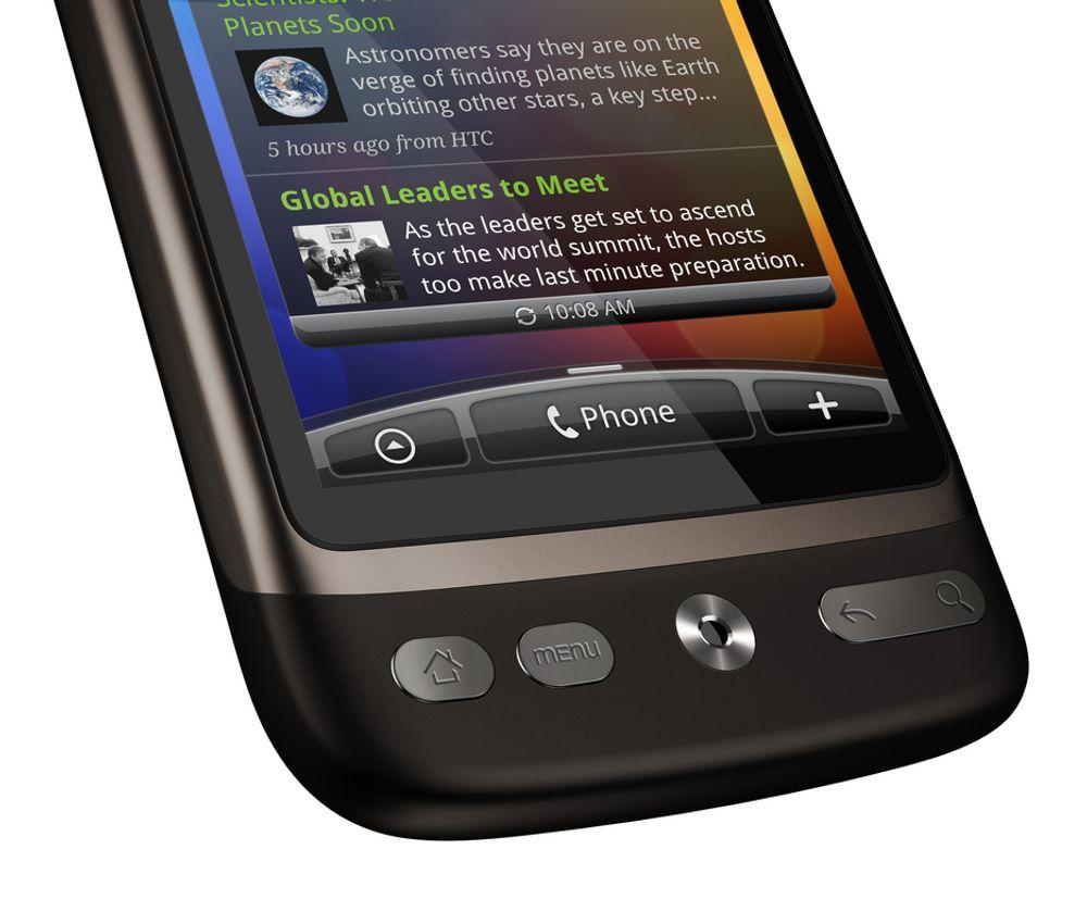 ØKER I ANTALL OG OMFANG: HTC Desire er en av markedsvinnere blant smarttelefoner på Android-plattformen. Både antall brukere og datamengder eksploderer innen mobil internettbruk.
