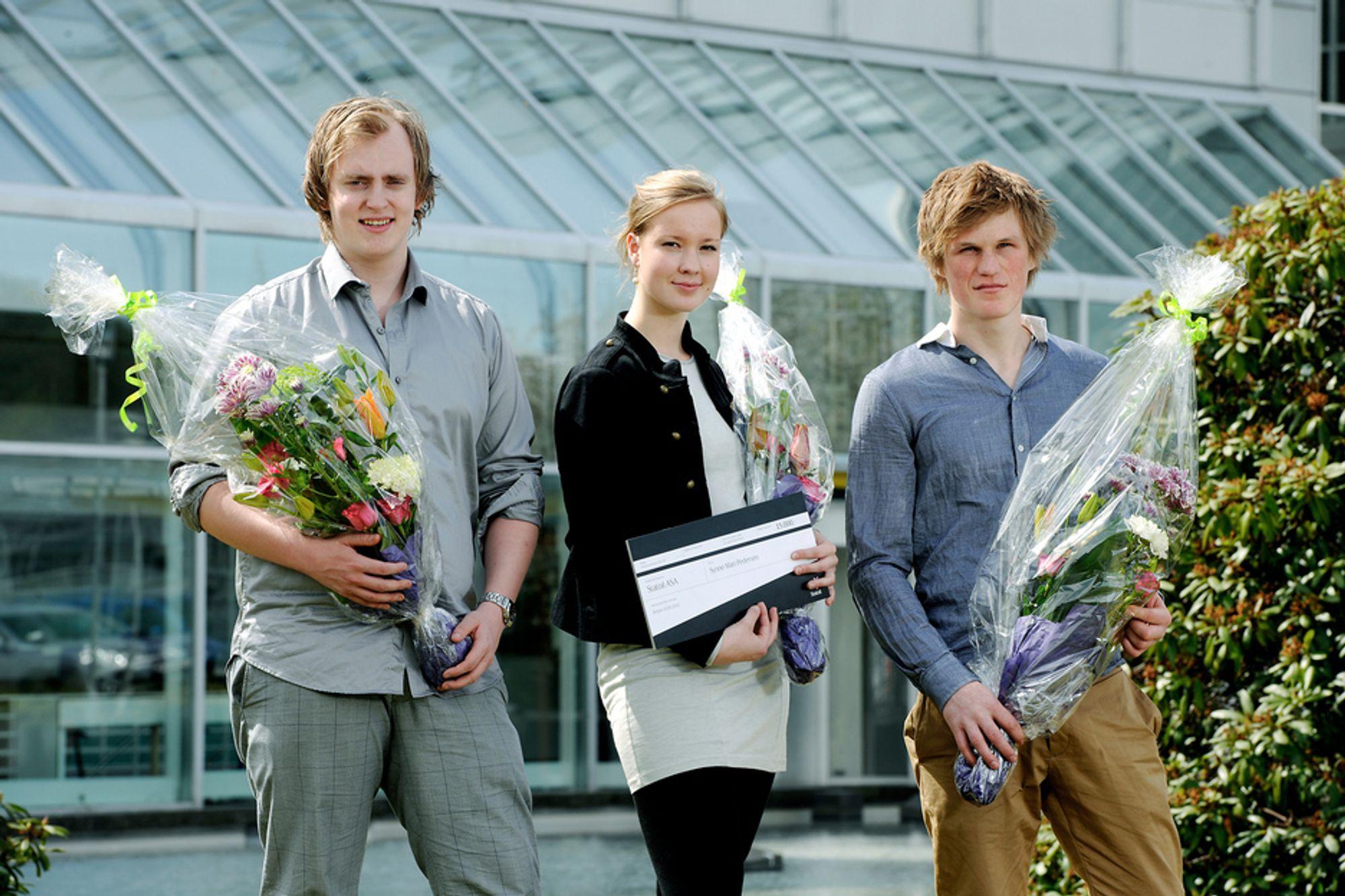 REALFAGSVINNERE: Nasjonale vinnere ble Severin Bøyesen Sjømark, Synne Mari Pedersen og Harald Gard Halvorssønn Kjørholt.