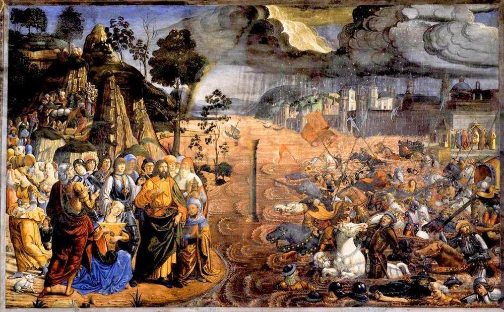 SPLITTER RØDEHAVET: Slik krysset Moses og israelittene Rødehavet med Guds hjelp, på flukt fra Egypts hær, ifølge maleren Cosimo Rosselli (ca. 1481). Nå har forsøker forskere å gi en vitenskapelig forklaring ved hjelp av datasimuleringer.