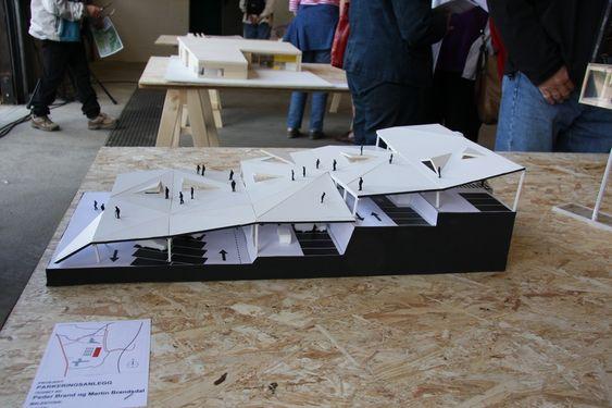 Forslag til P-hus på Lunner Stasjonsby tegnet av arkitektstudentene Peder Brand og Morten Brandsdal
