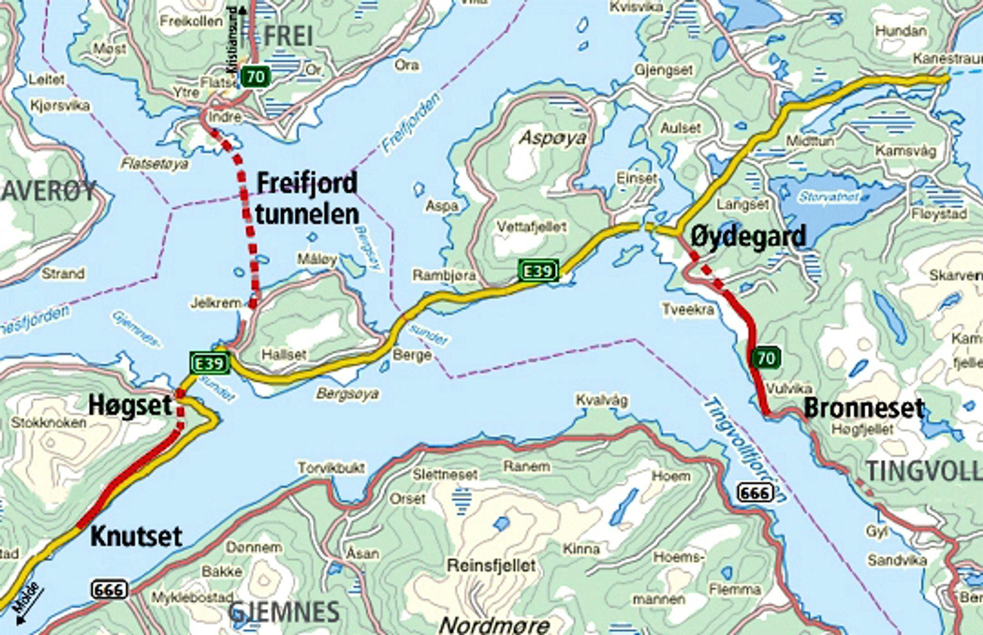De to tunnelene som sannsynligvis blir drevet av et arbeidsfellesskap mellom Betonmast og Mika, er markert med røde stiplete linjer like ved navnene Høgset og Øydegard.