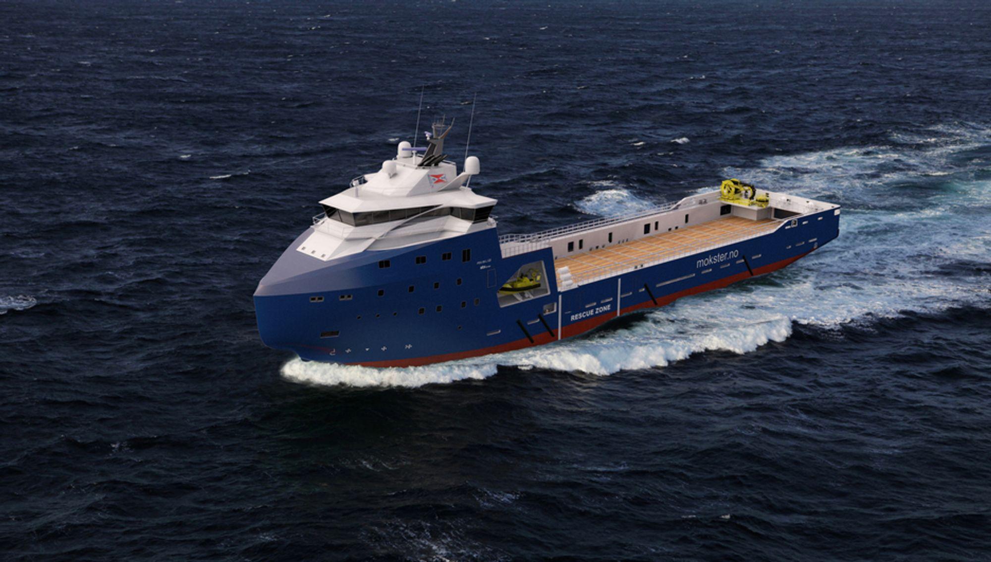 ARBEIDHEST: Det nye forsyningsskipet til Simon Møkster Rederi klargjøres for oppdrag i arktiske strøk og for redningsoperasjoner og oljeoppsamling.