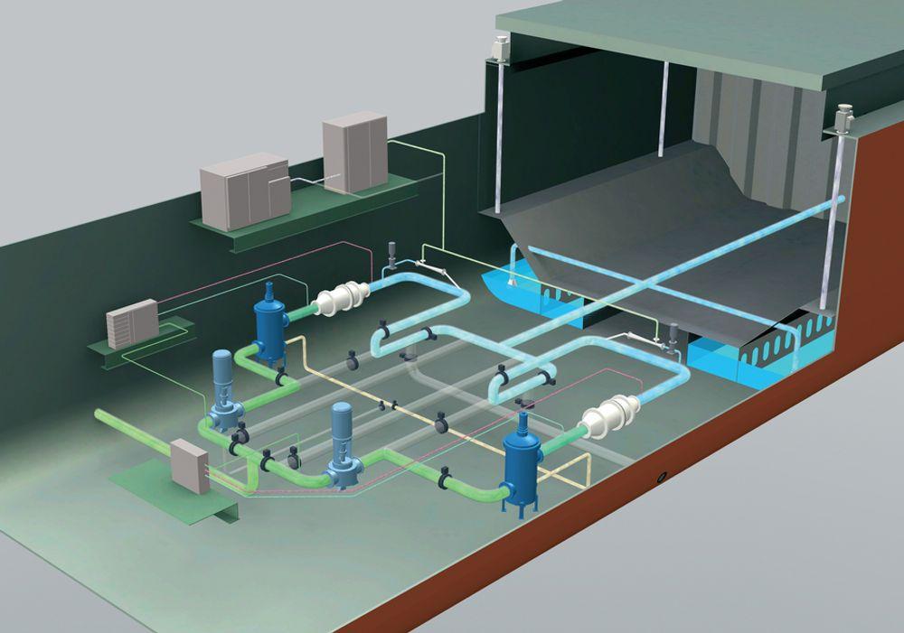 FØRSTE GENERASJON: Oceansaver Ballast Water Management System Mark I består i hovedsak av filter, kavitasjonsenhet, elektrodialyseenhet og nitrogenmettingsenhet.