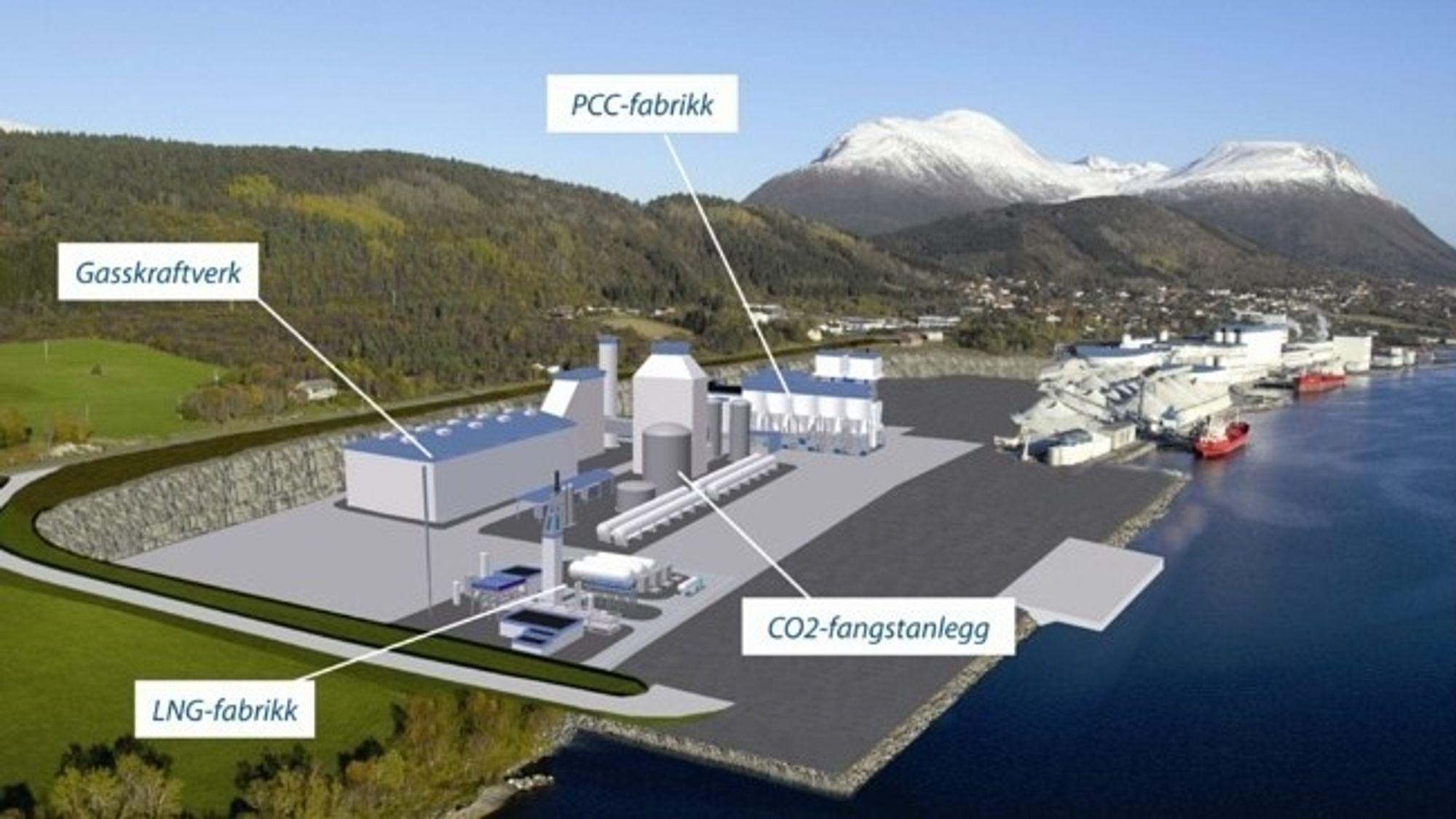 HAR KONSESJON: Gasskraftverket som Industrikraft Møre vil bygge i Elnesvågen, ved siden av den kraftkrevende industribedriften Hustadmarmor som produserer flytende marmor til papirindustrien. Et gasskraftverk her vil gi reduserte europeiske utslipp, selv uten CO2-rensing, konkluderer en rapport laget for Industri Energi.