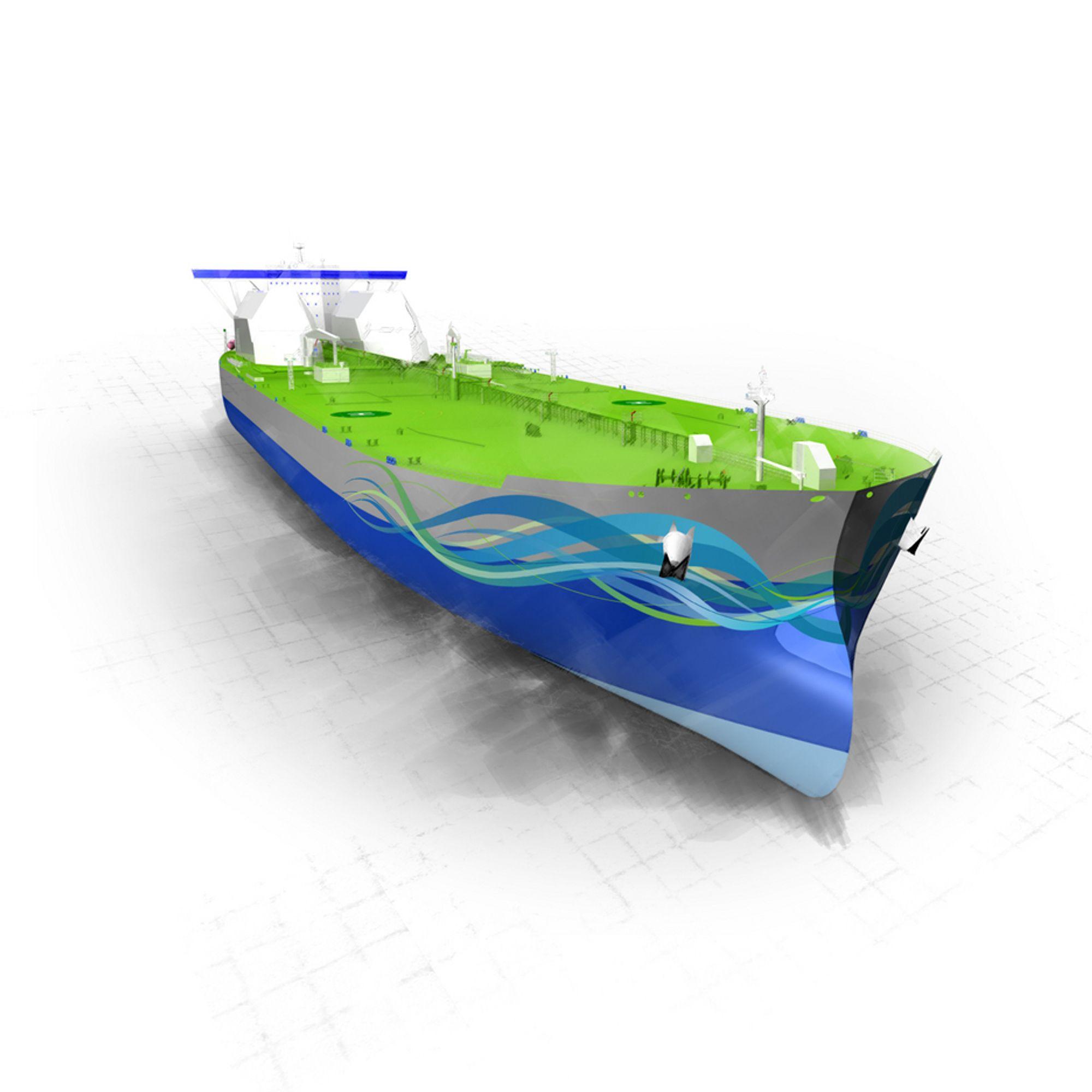 NY FORM: Triality får en skrogform som glir lettere gjennom vannet, har mindre våtflate og dermed mindre friksjon. De to hvite LNG-tankene synes godt rett foran mannskapsdel og broen.