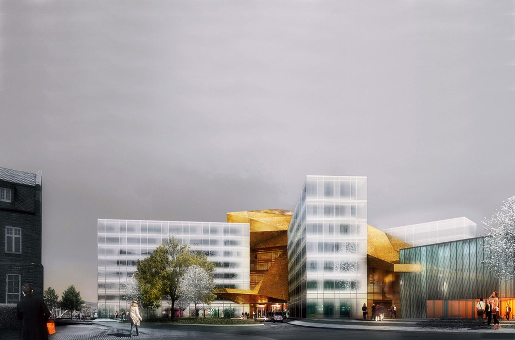 GLASSFASADE: Slik ser Spacegroup arkitekter for seg at Clarion Hotel & Congress Trondheim blir seende ut når det er ferdig neste år.