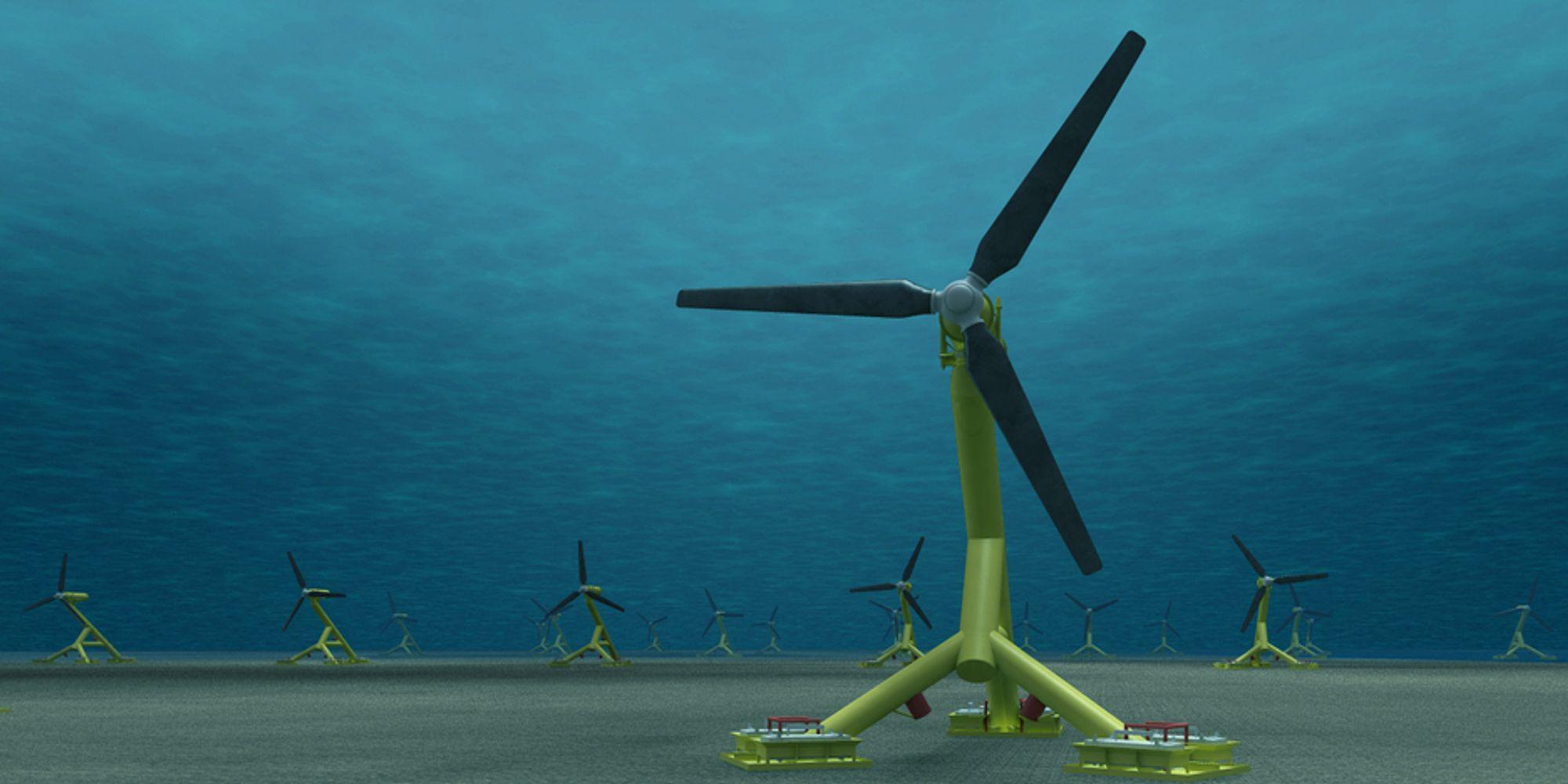 TIDEVANNSENERGI: Hammerfest Strøm UK har delt ut kontrakter for understellet til turbinen HS 1000, som er på 1 megawatt. Skotske bedrifter posisjonerer seg kraftig i leverandørmarkedet for tidevannsenergi.