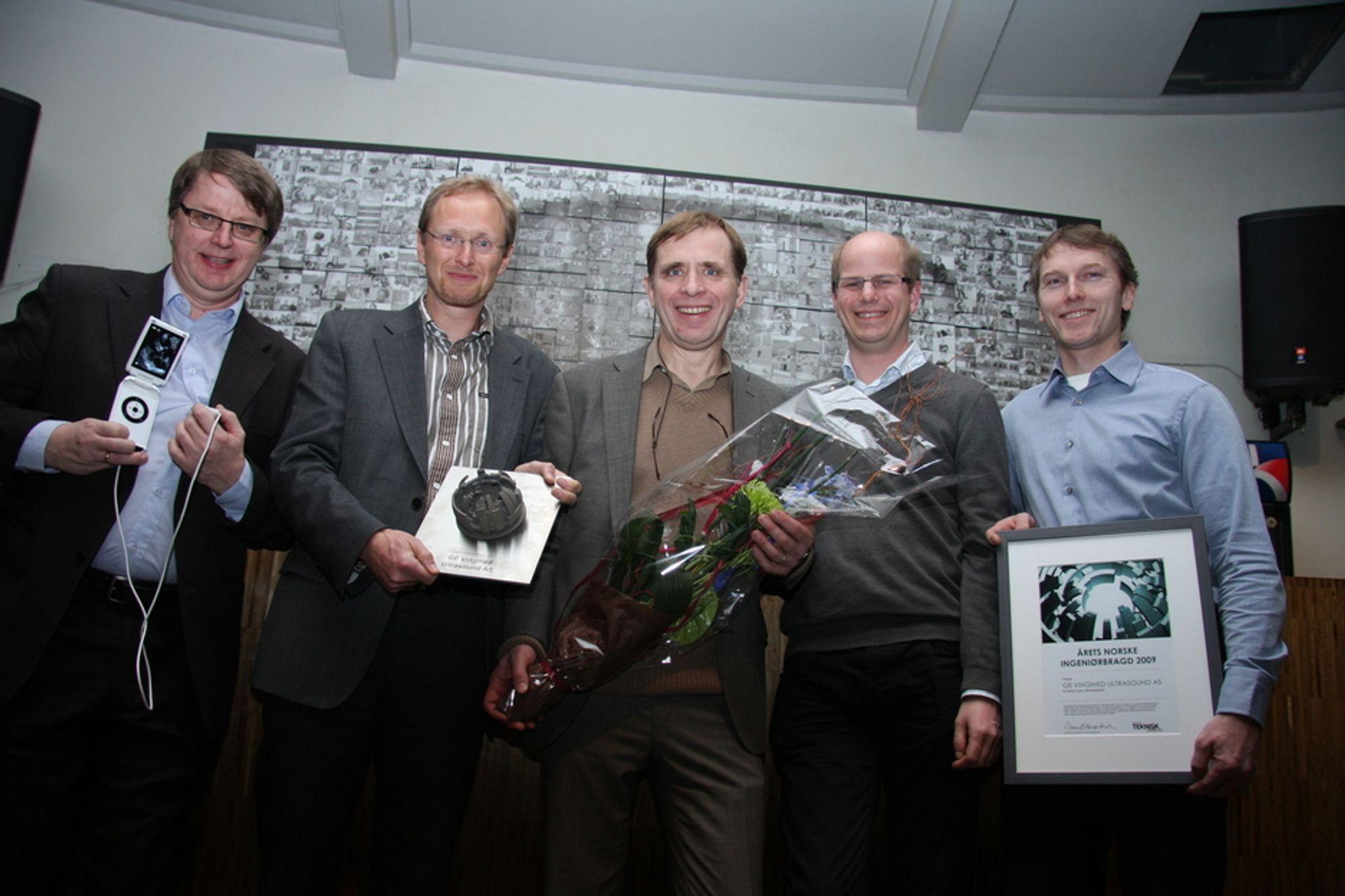 FJORÅRETS VINNER: GE Vingmed Ultrasound i Horten vant Ingeniørbragden 2009. Hvem vinner i år? Fra venstre: Håkon Høye, Dagfinn Sætre, Kjell Kristoffersen, Anders Torp og Vidar Lundberg.