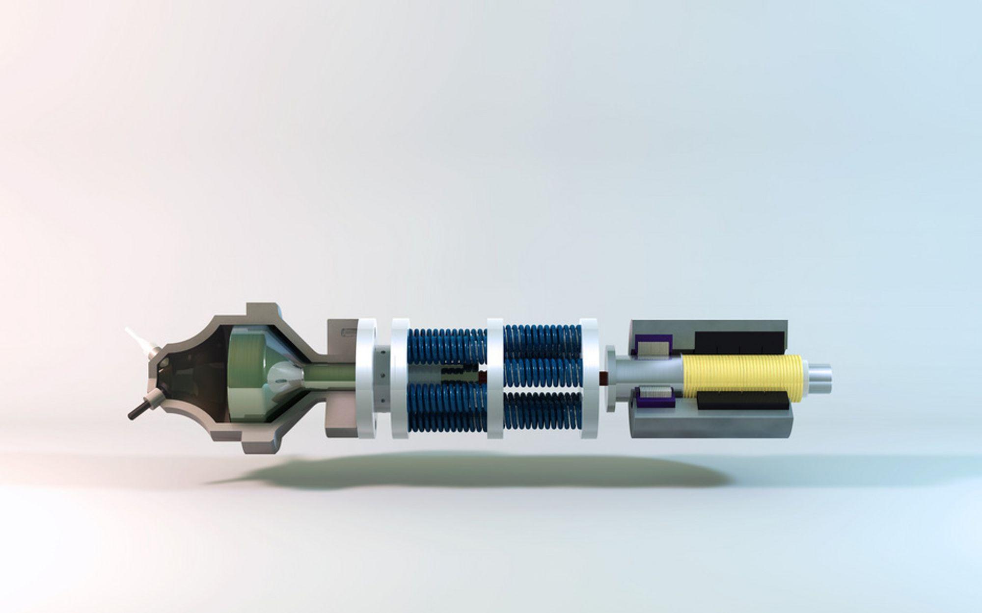 ENKEL: Supersonic Wave Engine har tre hovedelemeter. Fra venstre eksplosjonskammeret med stempel, et fjærsystem som settes i oscillasjon og en lineær generator for  å lage elektrisk energi.