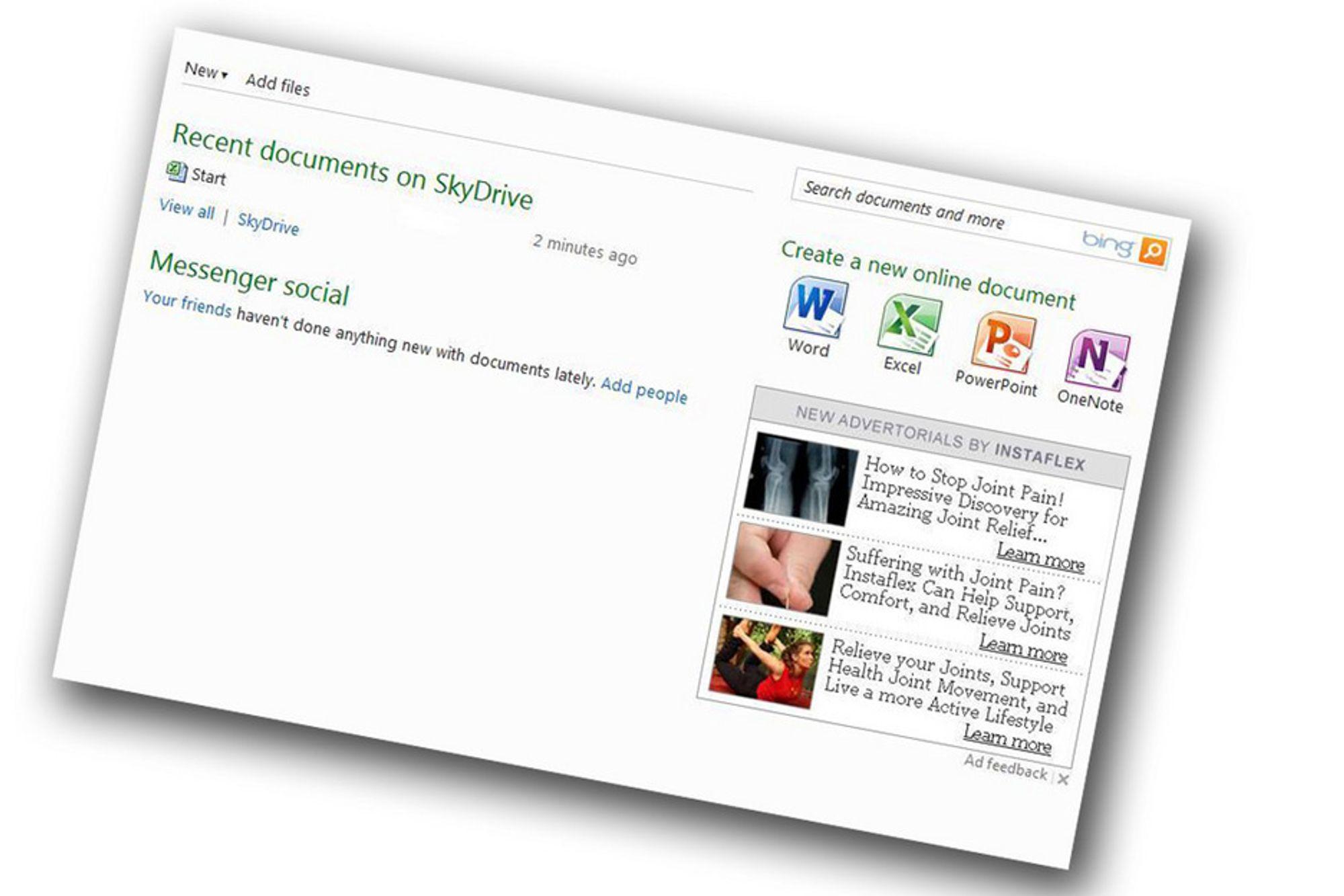 FUNKSJONER: Officepakken på nettet har noe færre funksjoner, og du må leve med annonser.