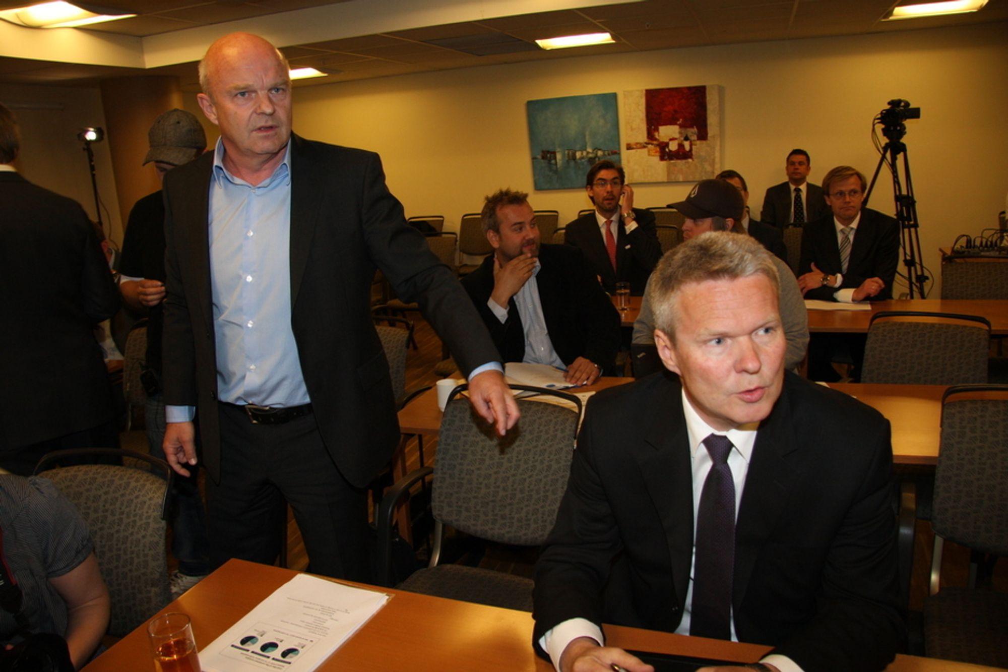 START: Konsernsjef Terje Mjøs (t.h.) og visekonsernsjef John-Arne Haugerud i EDB Ergogroup starter det felles selskapet med et noe betent forhold til Oslo kommune.