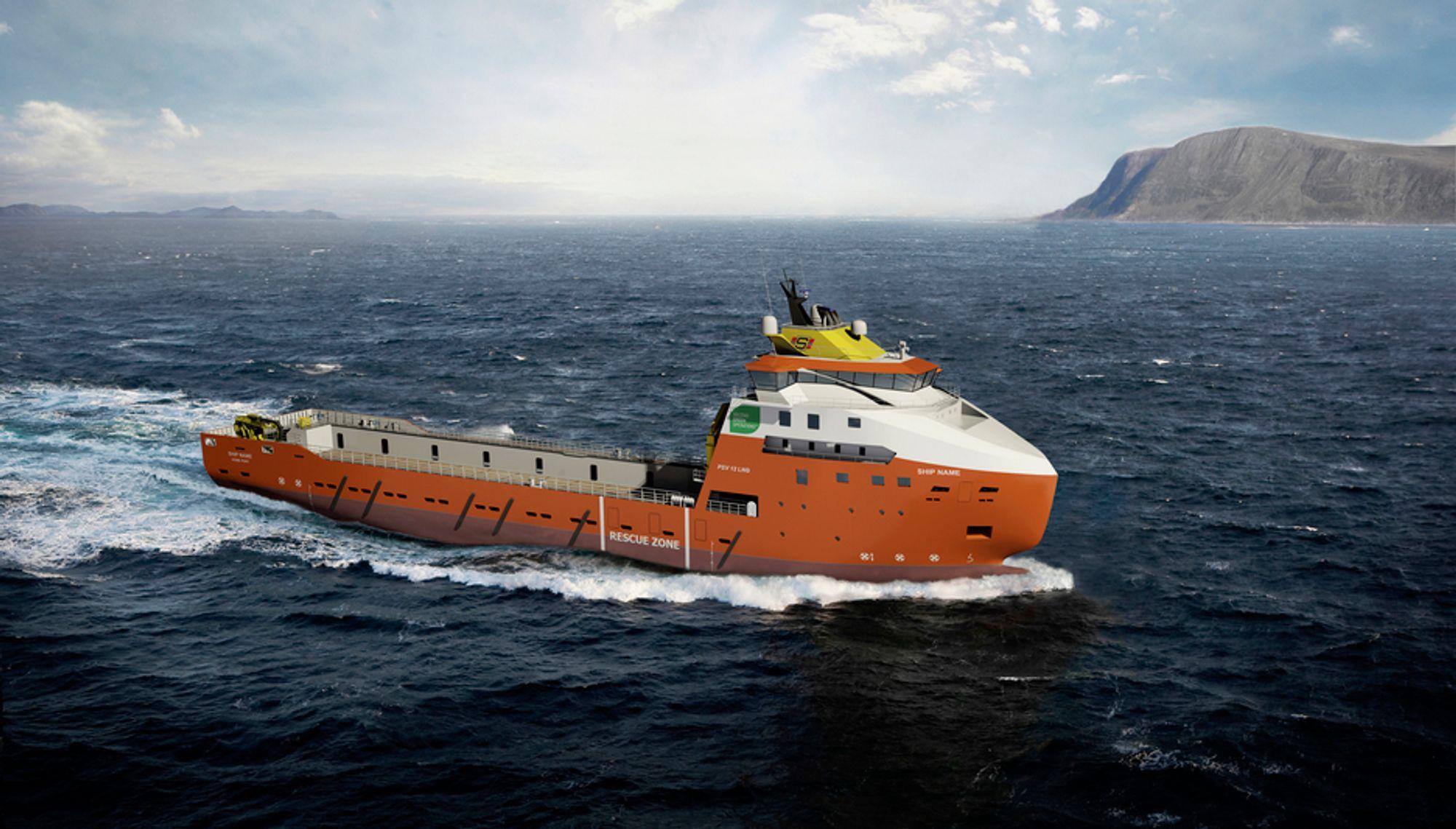 GASSDRIFT: Solstad Rederi har bestilt et LNG-drevet forsyningsskip fra STX Europe i Langsten. Det 94,3 meter lange skipet skal leveres i slutten av 2011.