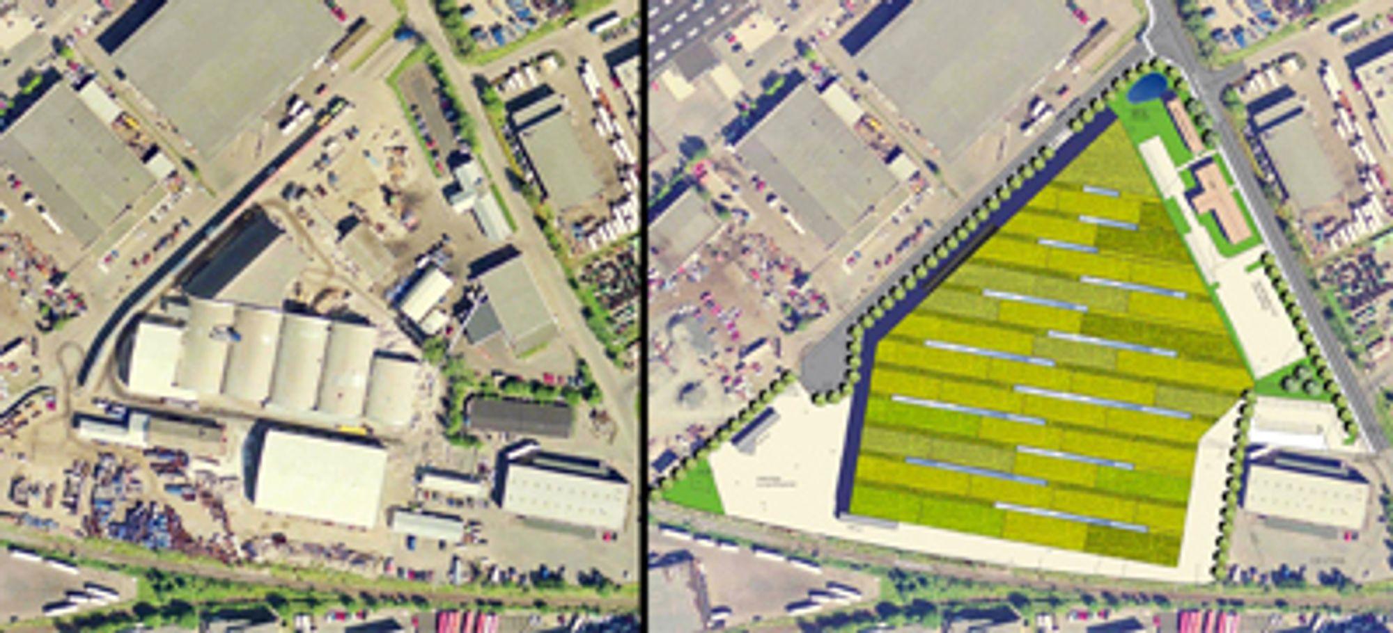 FØR OG ETTER: Flyfotoet av tomten der Veilias miljøanlegg ligger var en del av vinnerutkastet til Arkitektkontoret GASA. Til venstre ser vi hvordan området var - helt uten grønt - og til høyre en manipulasjon som viser bygget med grønt tak.