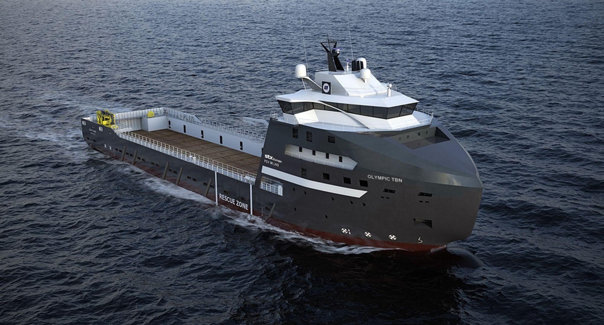MILJØSKIP: STX Norway Offshore Design har utviklet det LNG-drevne PSV 06 som Olympic bestiller fra STX med levering i 2012.