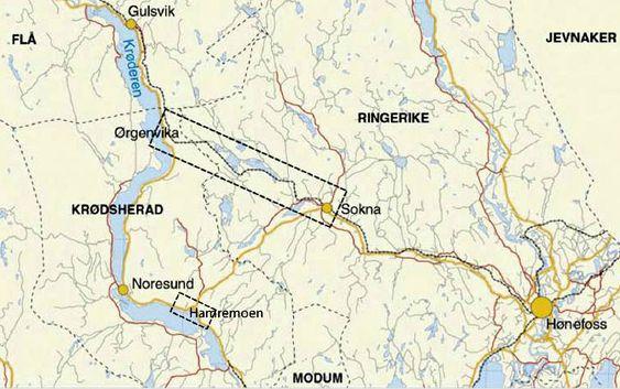 Riksveg 7 blir 20 km kortere når den nye vegen mellom Sokna og Ørgenvika er ferdig. Krysset på Hamremoen mellom nåværede riksveg 7 og fylkesveg 280 skal bygges om.