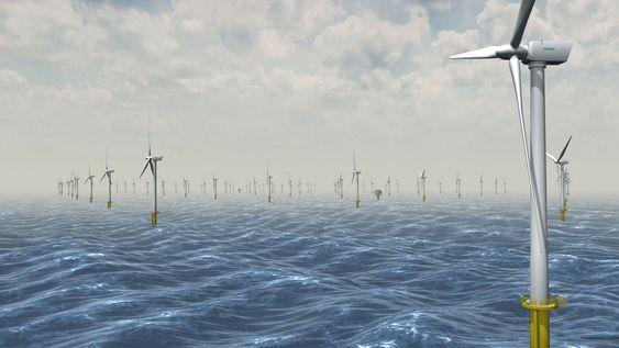 SHERINGHAM VINDPARK: Slik ser StatoilHydro for seg det nye havvind-prosjektet sammen med Statkraft. Prislappen på anlegget utenfor Storbritannia er 10 milliarder norske kroner.