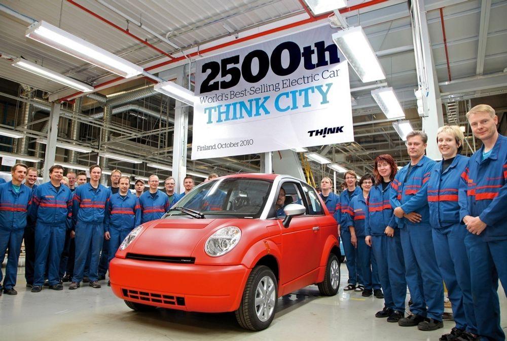 I oktober i fjor kunne Think feire at Think City nummer 2 500 rullet av produksjonslinja hos Valmet Automotive. Nå er det imidlertid stillstand på fabrikken i Finland.