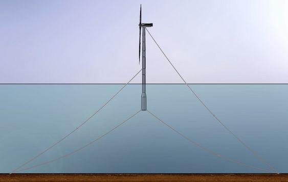 """I FLERE HØYDER: Njord-konseptet går blant annet ut på å feste forankringslinjene ved flere høyder på konstruksjonen for å motvirke vind- og havkreftene, eller det såkalte """"momentet"""" som forsøker å velte flyteren."""
