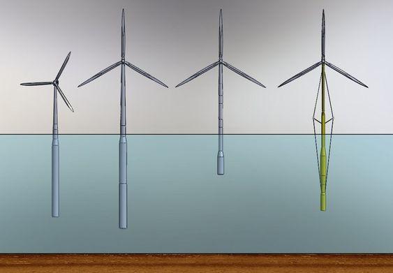 FIRE ULIKE KONSEPTER: Her er fire ulike turbinkonsepter stilt ved siden av hverandre for å illustrere forskjellen i størrelsen. Fra venstre: Hywind, Hywind OC3, Njord og Sway.