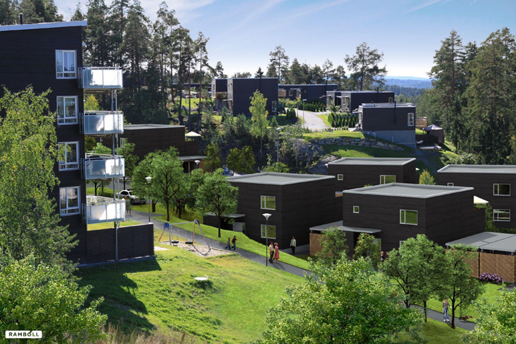 SOLIDARISK: Erling Askautrud, byggmester og daglig leder i Håndverksbygg fører opp disse passivhusene i Oslo. - Jeg må vel være solidarisk, sier han om BNLs meninger.