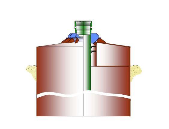SYLINDER: Cunductor Anchor Node står på havbunnen over brønnen. Conductoren (foringsrøret) tres igjennom uten at det må støpes og tilføres kjemikalier for å stabilisere bunnen rundt. CAN tåler vekten av de største utblåsningsventilene (BOP) på opptil 350 tonn samt annet uttstyr.