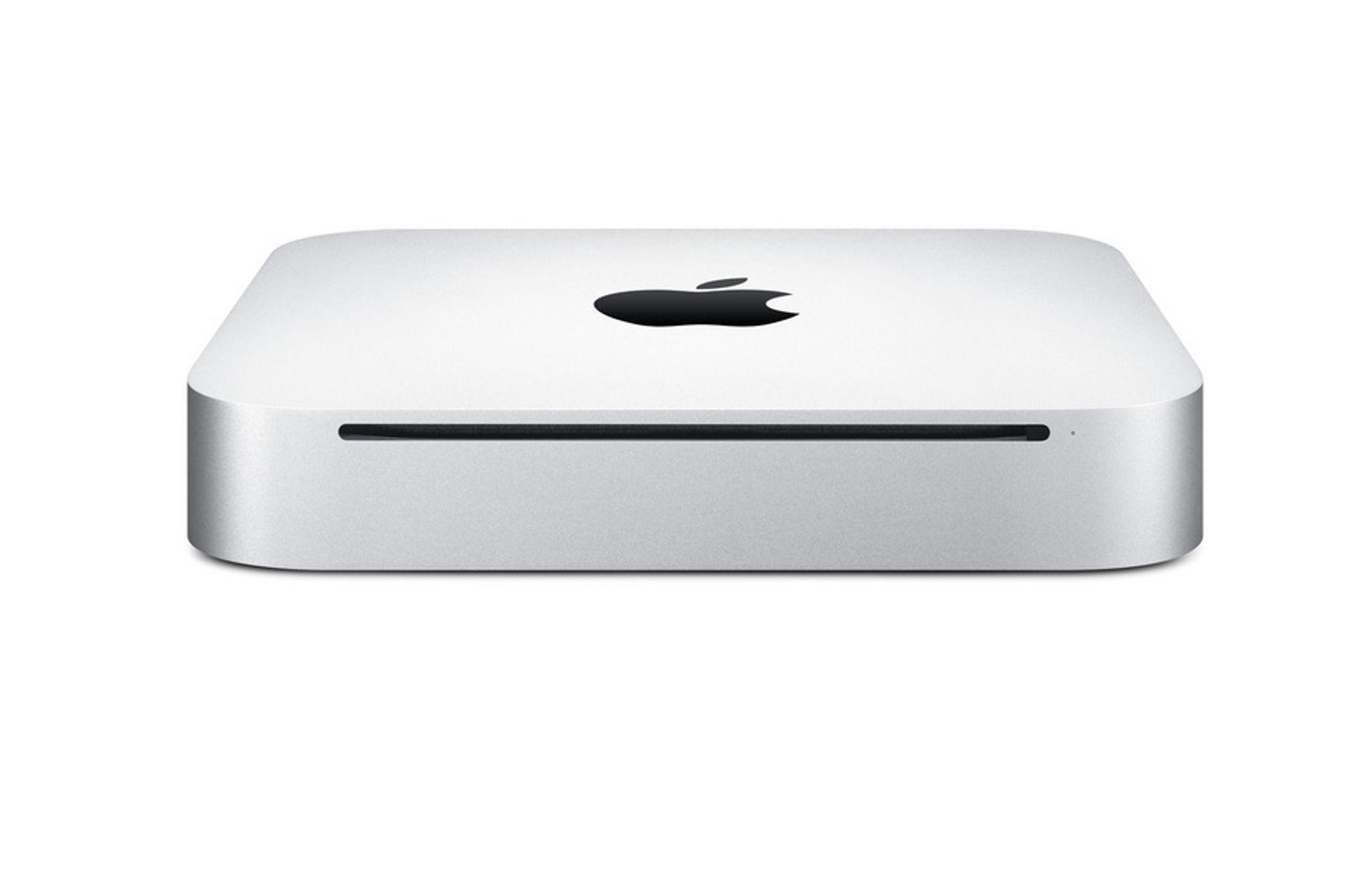 Nye Mac Mini har fått strømforsyningen integrert i kabinettet. Det gjør at den tar enda mindre plass.