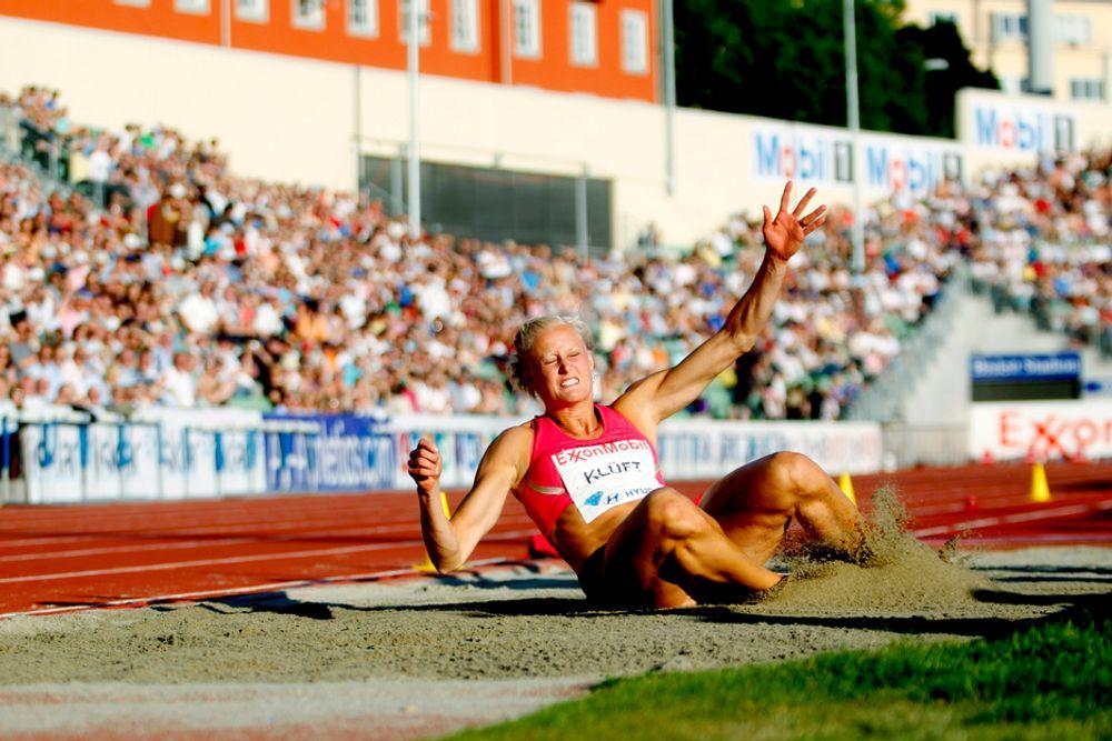 Svenske Carolina Klüft skal hjelpe Veidekke til helsegevinster. Her fra Bislett Games i sommer.