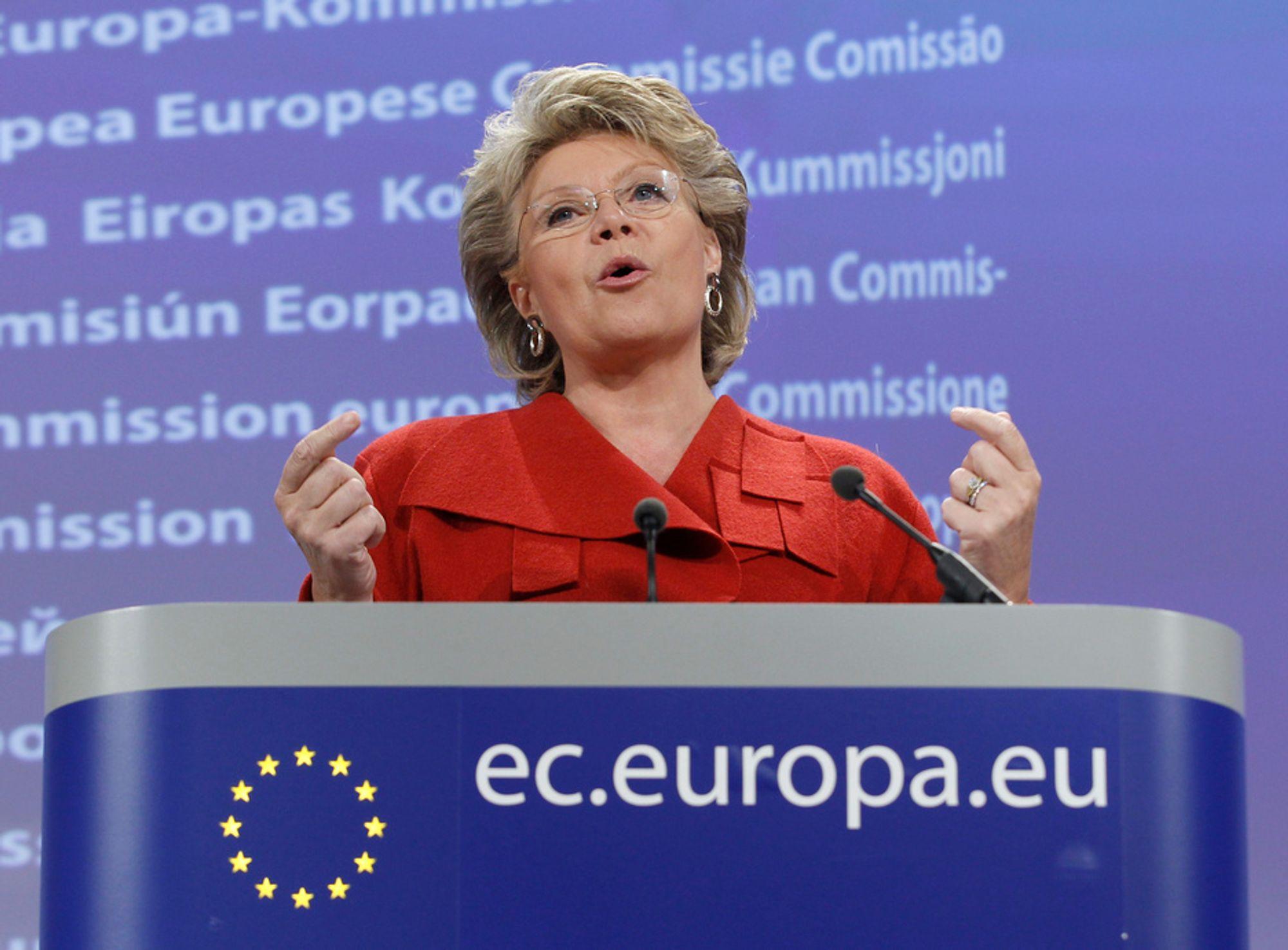 FORSVINNINGSRETT: Viviane Reding vil gi folk «retten til å bli glemt» hvis de ønsker å forsvinne fra for eksempel Google eller Facebook.