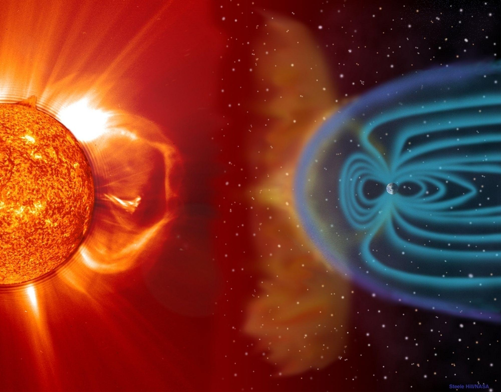 MAGNET: Det kan bli en geomagnetisk storm i magnetfeltet utenfor jorda (den lille blå prikke i det blå feltet) når sola slunger ut ladde aprtikler og plasma under en solstorm (CME).