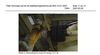 Heimdal sliter blant annet med rust. Dette bildet er fra 2007.