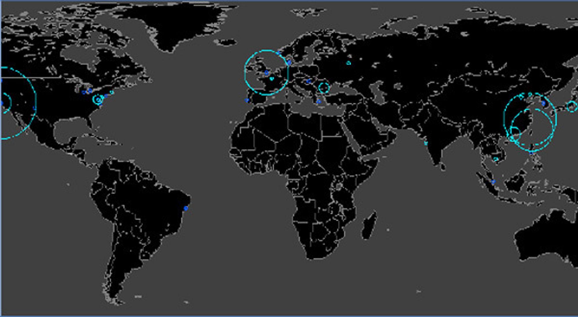 Symantecs kart over målrettede dataangrep mot bedrifter. Shaoxing i Kina er byen med flest slike.