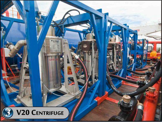 TRINN TRE: Fire V20 sentrifugalseparatorer skiller vann fra olje. Vannet skal være så rent og innenfor myndighetskravene at det kan slippes på sjøen.