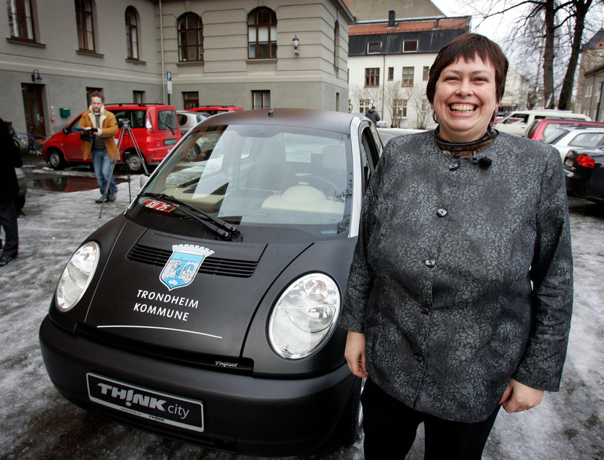 STØRST FLÅTE: Trondheimsordfører Rita Ottervik har Kommune-Norges desidert største elbilflåte.