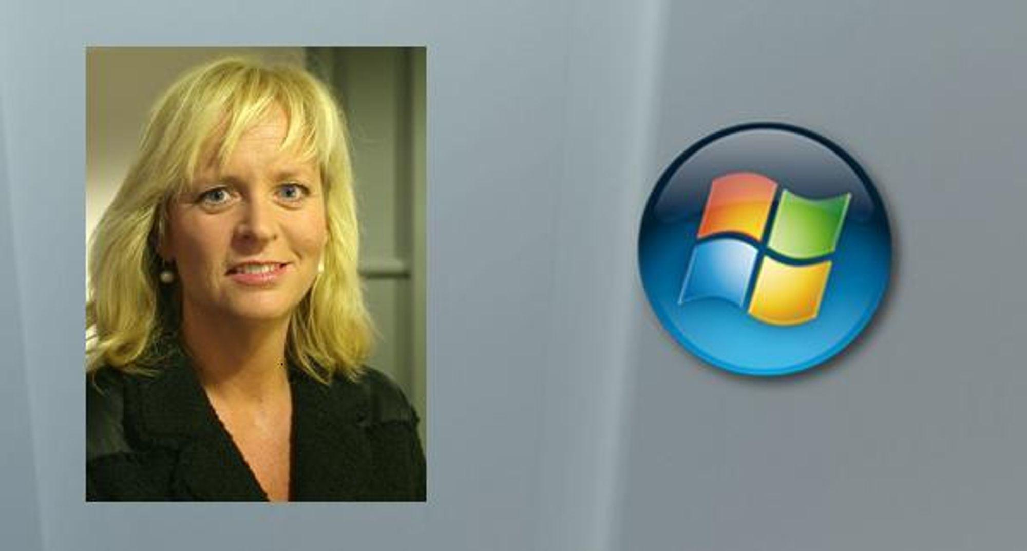 TIL MICROSOFT: Tidligere TV 2-nyhetsanker Christine Korme (innfelt) blir Microsoft Norges ansikt mot presse og publikum.