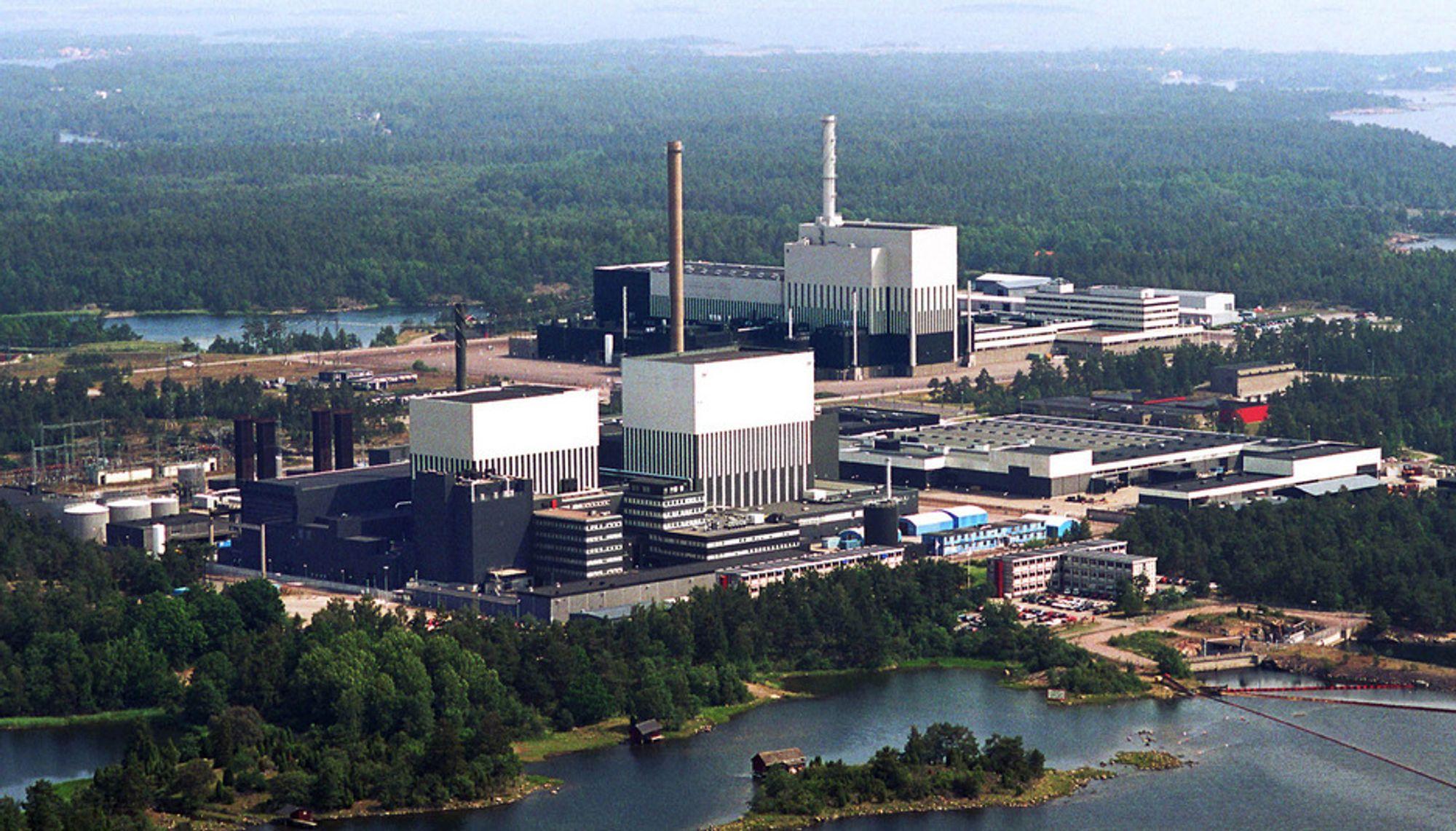 Oskarshamn atomkraftverk i Sverige der to persoenr skal ha forsøkt å smugle inn sprengstoff.