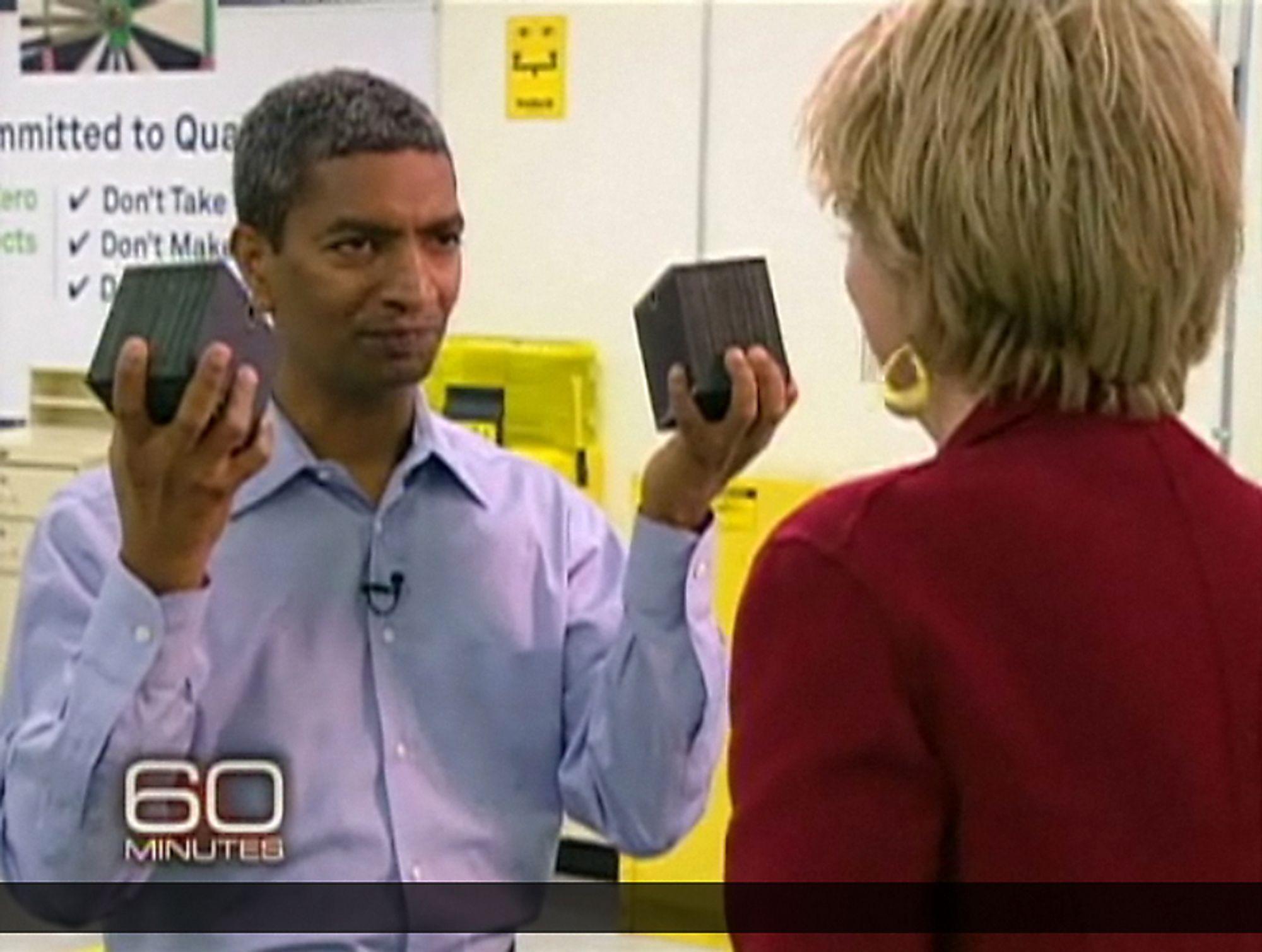 KONSENTRERT KRAFT:Oppfinneren bak og sjefen for Bloom Energy, K. R. Sridhar gikk ut på 60-minutes og fortalte om selskapet og teknologien.