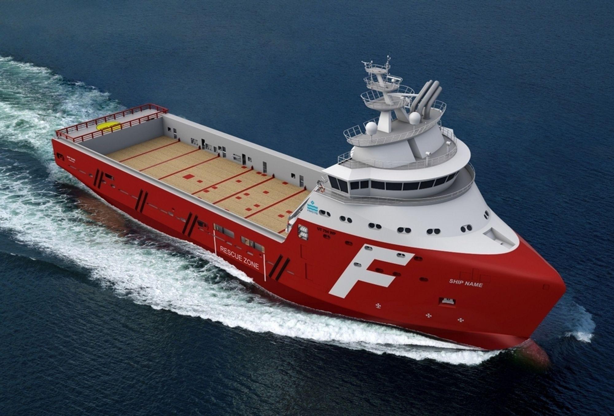 FØRST: Farstad Shipping har tradisjon for å gå foran. Med kontraheringen av et forsyningsskip meddet nye Wave- piercing-designet, så viser rederiet nok engang vilje til nytenking.