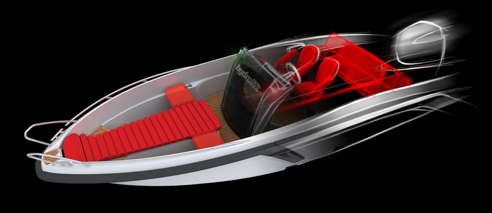 RÅTT: Vil du fort frem på sjøen kan Hydrolifts nye 22 foter, SX 22, være et alternativ. Dette er Hydrolifts første båt med utenbordsmotor og med en 300 hester på hekken oppgis hastigheten til 65+ knop. Hvor mange knop det ligger i plusstegnet får vi se, men det er nok en del.