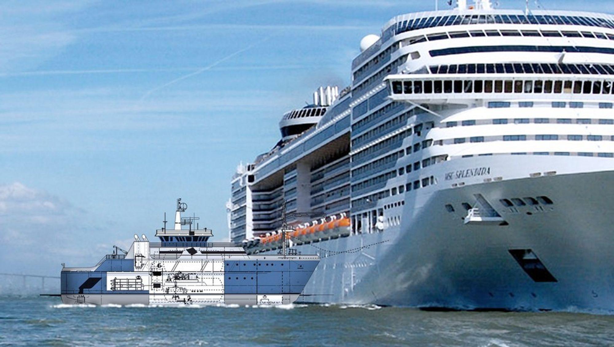 REN KRAFT: Slik tenker Eidesvik seg at et EPS-fartøy kan koble seg til cruiseskipet og forsyne det med strøm fra brenselceller.
