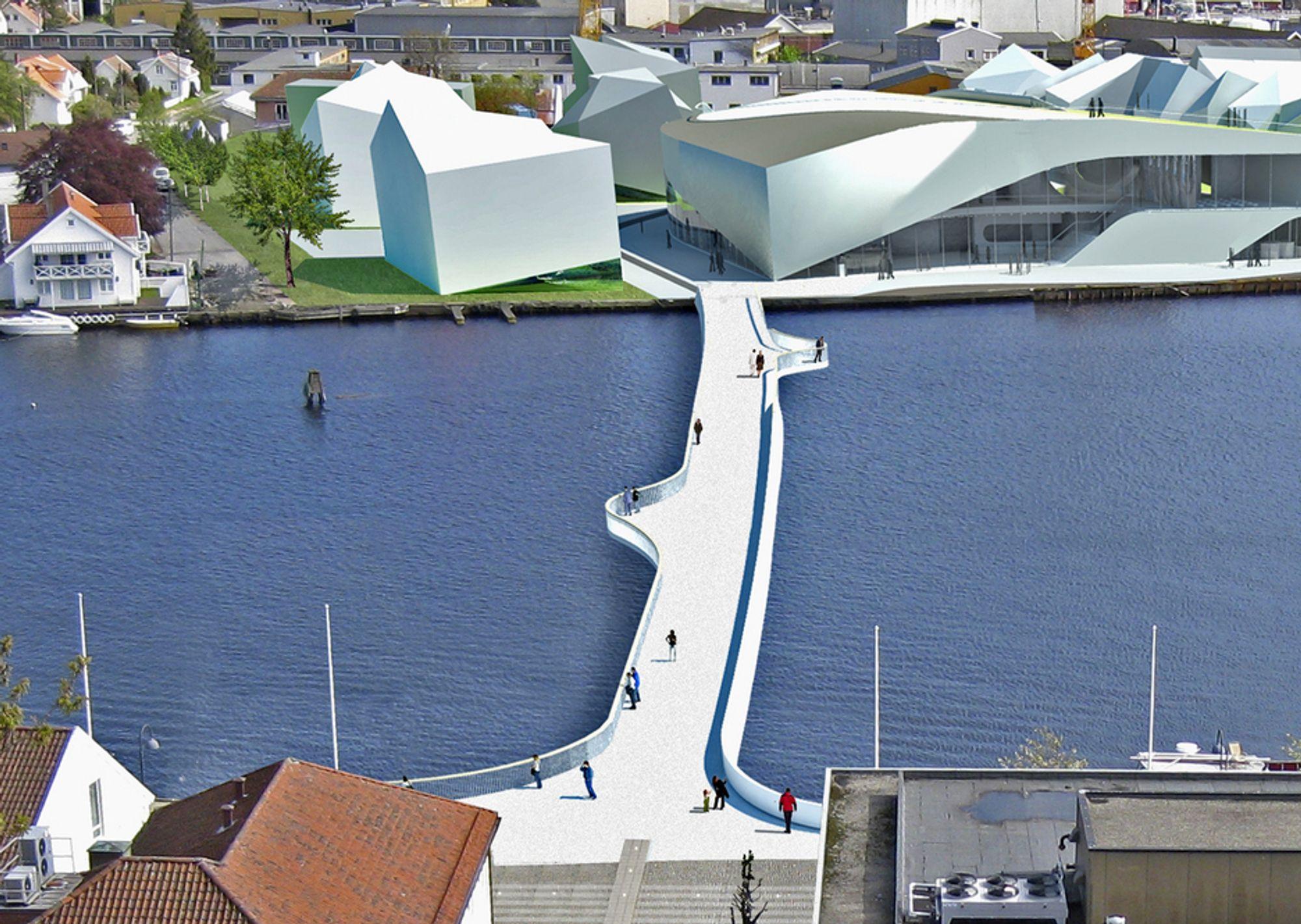 Den nye gang/sykkelbrua vil gjøre det lettere å krysse Mandalselva. Kulturhuset som er under bygging, er tegnet ved elvebredden. Anbudsfristen går ut 22. november.