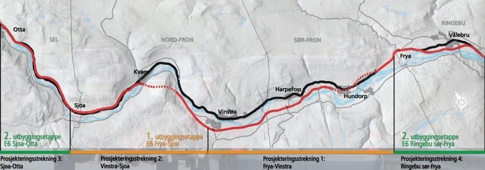 Frya-Vinstra er en av fire prosjekteringsstrekninger mellom Ringebu og Otta. Hvis det går slik Vegvesenet planlegger, er hele strekningen ferdig i 2017.