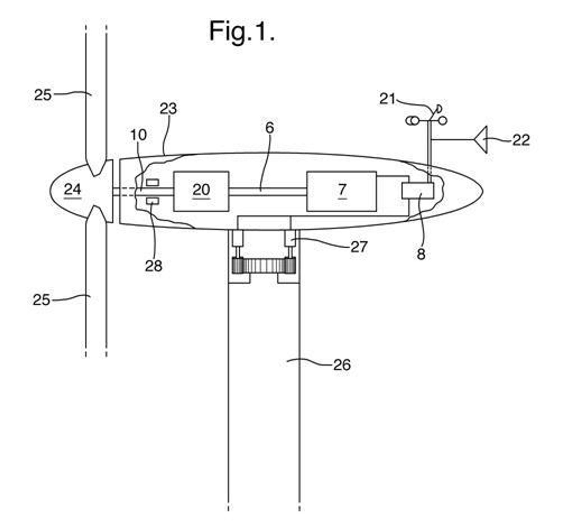 tegning fra Gunnar Myhrs patentsøknad innen vindkraft