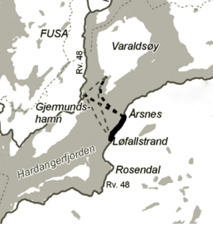 Overfarten over Hardangerfjorden blir kortere når fergeleiet på Årsnes åpnes til sommeren, men Vegvesenet regner med økt trafikk på vegen mellom Løfallstrand og Årsnes.