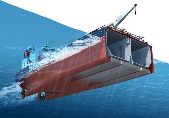 Luftputen under den flate delen av skroget kan utgjøre opp mot 70 prosent. Stena AirMax - skipskonsept med ny bulb og luftlomme. Kan redusere drivstofforbruket med 10-15 prosent. Luftlommene stiller andre krav til konstruksjonen for å ha nok styrke i forhold til konvensjonelle skrog.