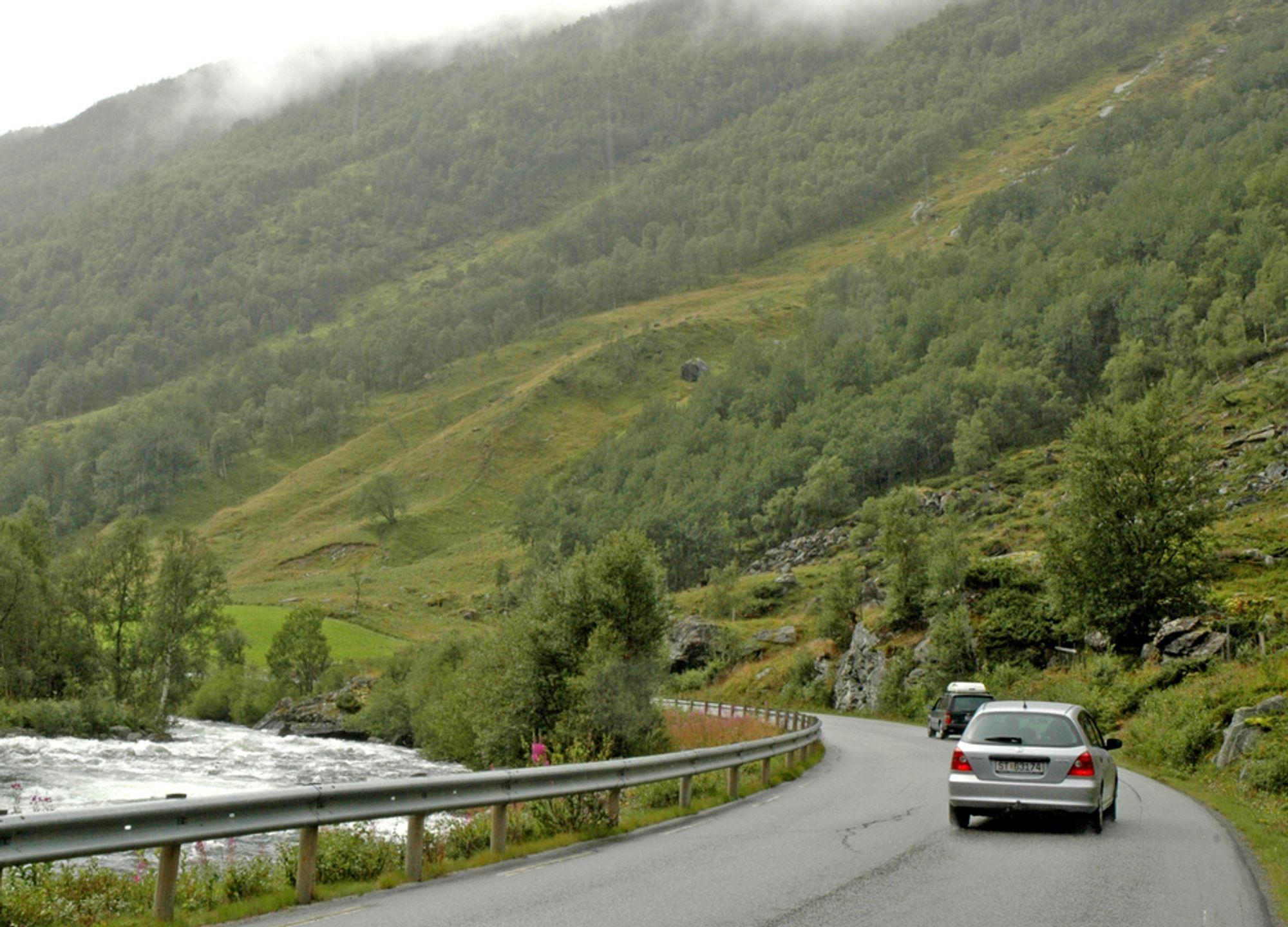 E 16 mellom Borlaug og Smedalsosen går gjennom naturskjønne omgivelser i Lærdalen, men standarden holder ikke mål. Vegen er ikke en gang bred nok til å få midtlinje. Denne strekningen blir lokalveg når tunnelen åpnes.