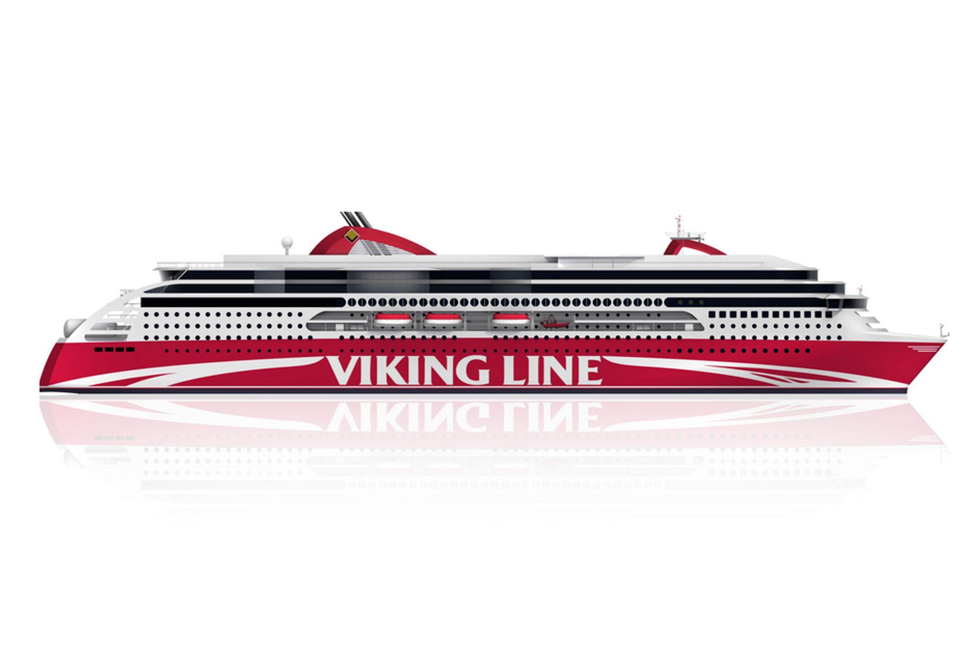 GRUNT OG GRØNT: Den 240 meter lange cruiseferja til Viking Line er støysvak, lager små bølger og blir svært miljvennlig på grunn av LNG-drift av motorene i stedet for bunkersolje eller diesel.