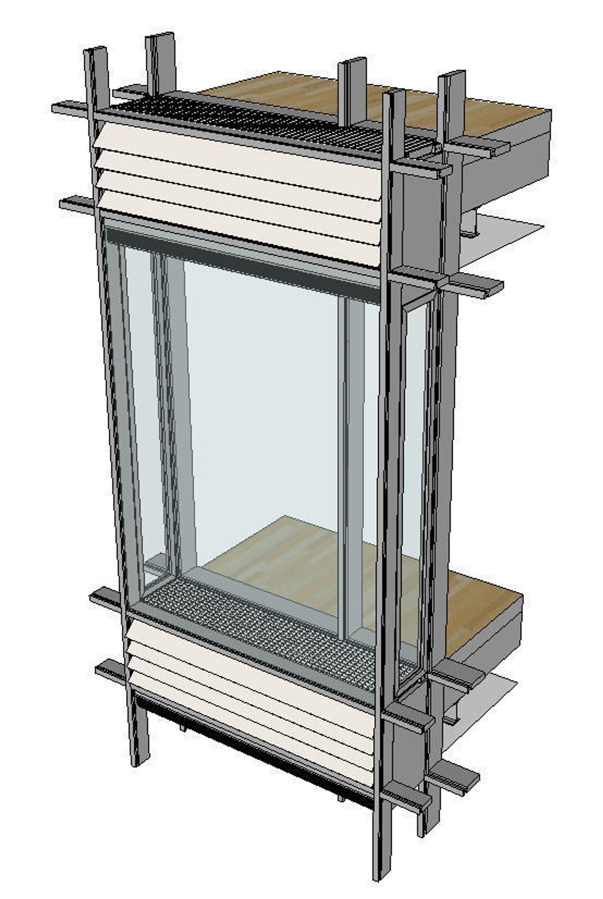 KONSEPTET: Øverst og nederst er inn- og utslipp av luft mellom de to glassjiktene. «Luftehullene» er dekket av lameller som kan styres automatisk for å regulere luftinntaket.