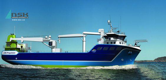 Første kystfraktskip med LNG framdriftsmotor er bestilt av NSK Shipping som har langtidskontrakt på frakt av fiskefôr for BioMarin. Lengde: 69,9 meter Bredde: 16 meter Dypgang: 9,8 meter Hovedmotor: Rolls-Royce C26:33L6PGas på 1620 kW Framdrift: Motor koblet til propell med en konvensjonell løsning med gir og akselgenerator Redundans:  Hjelpemotor ¿ ¿take-me-home¿ ved hjelp av dieselgeneratorsett mot akselgenerator LNG-tank: 90 m3 Verft: Tersan, Tyrkia